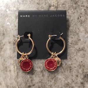 New Small Disc Style Burgundy & Gold Earrings